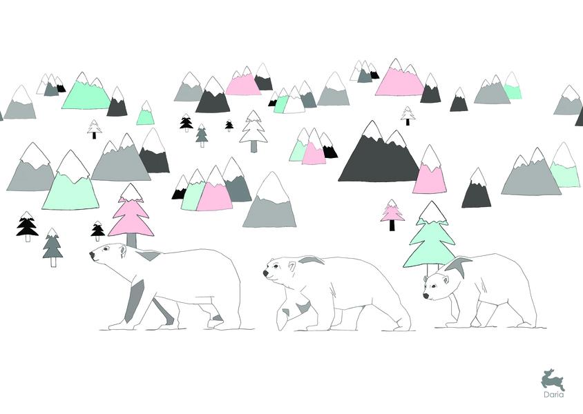 משפחת דובים - ורוד